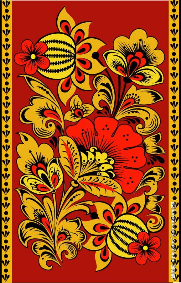 Folk Khokhloma painting from Russia.
