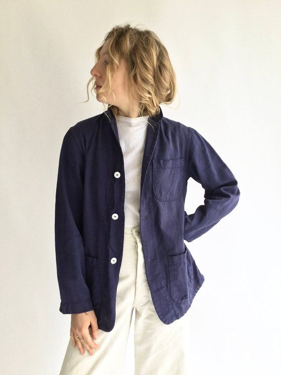 Vintage Navy Work Jacket Workwear Shirt Jacket S M L