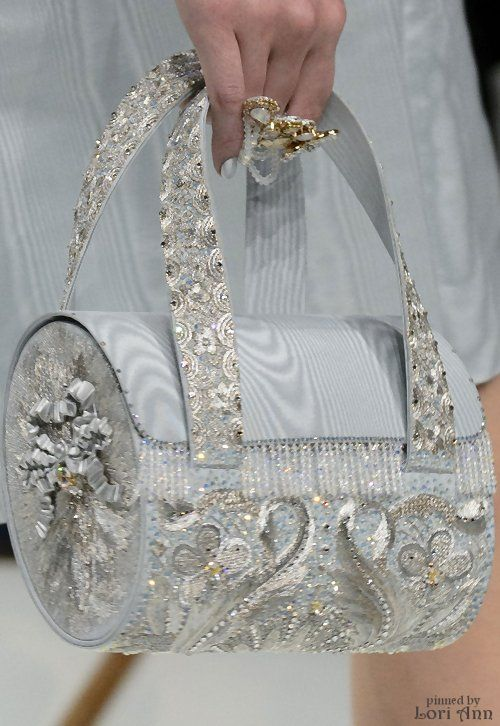 pale grey tubular purse | beaded embellishments for evening wear | Guo Pei Couture Spring 2016