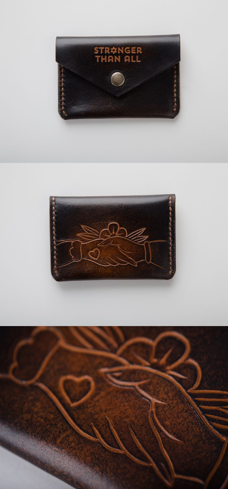 Friendship Design Hand Tooled Leather Snap Wallet  by  Stronger Than All Leather #EDC #everydaycarry #wallet