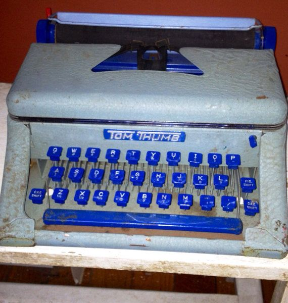 Vintage Aqua Blue TOM THUMB Childs Typewritter on Etsy, $28.00