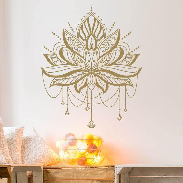 Wandtattoo Lotus Mit Ketten Wandtattoo Blumen Wandtattoos Poster Blumen