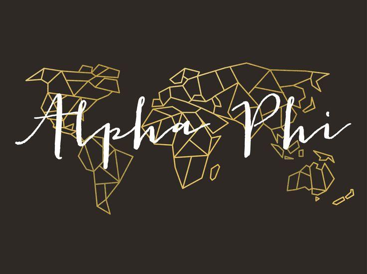 Geneologie | Greek Life | Sorority | Sisterhood | Freebie | Free Download | Desktop Wallpaper | Background | Alpha Phi | Map | World Map | Geometric | Gold