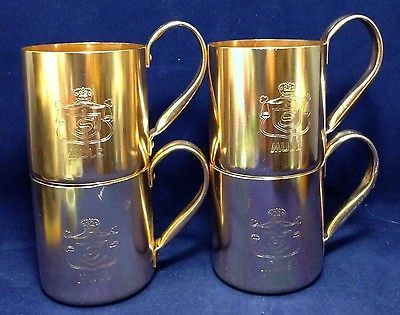 Lot of 4 Vtg SMIRNOFF MULE Moscow Copper Aluminum Cups Mugs