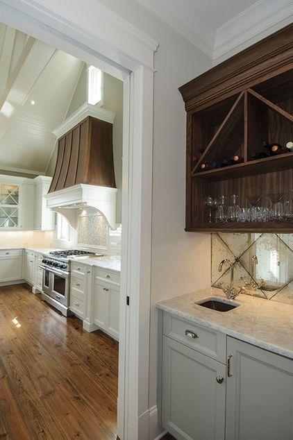 Tile mirror table glass white kitchen design idea
