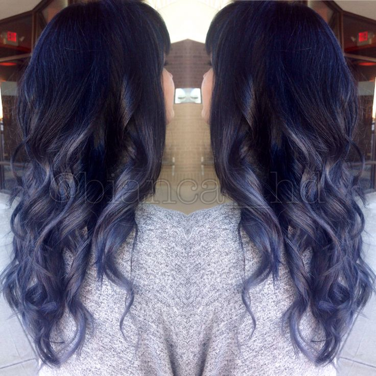 Steel blue grey ombre balayage with black roots and soft ...