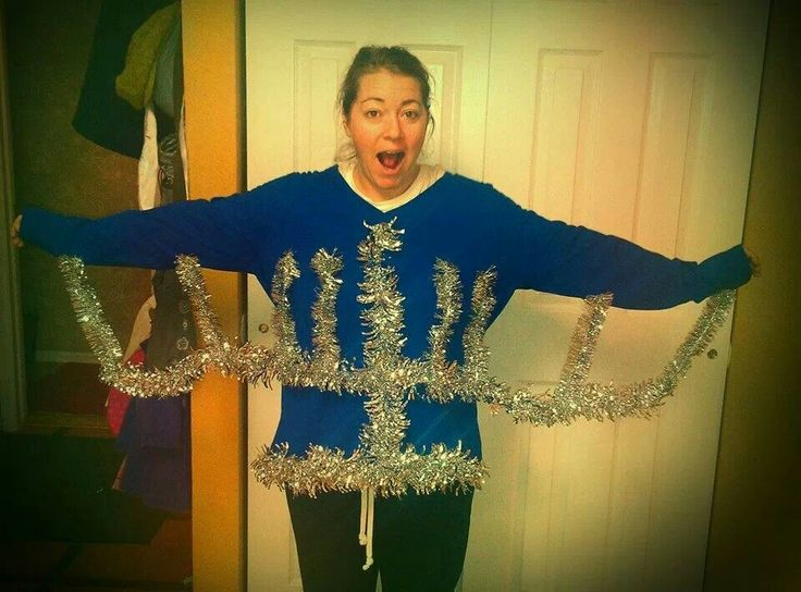 DIY Menorah Sweater Mine would have to be adjusted or else I would only see 6 candles