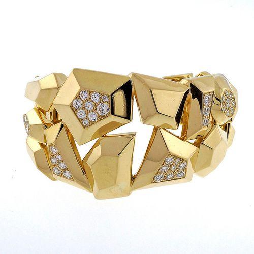 Mimi So Jackson Bangle Bracelet 18k Yellow Gold 4.37ct Diamond