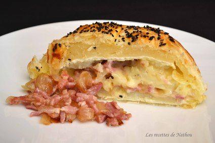 Feuilleté au camembert, pommes de terre, lardons et oignons confits au balsamique