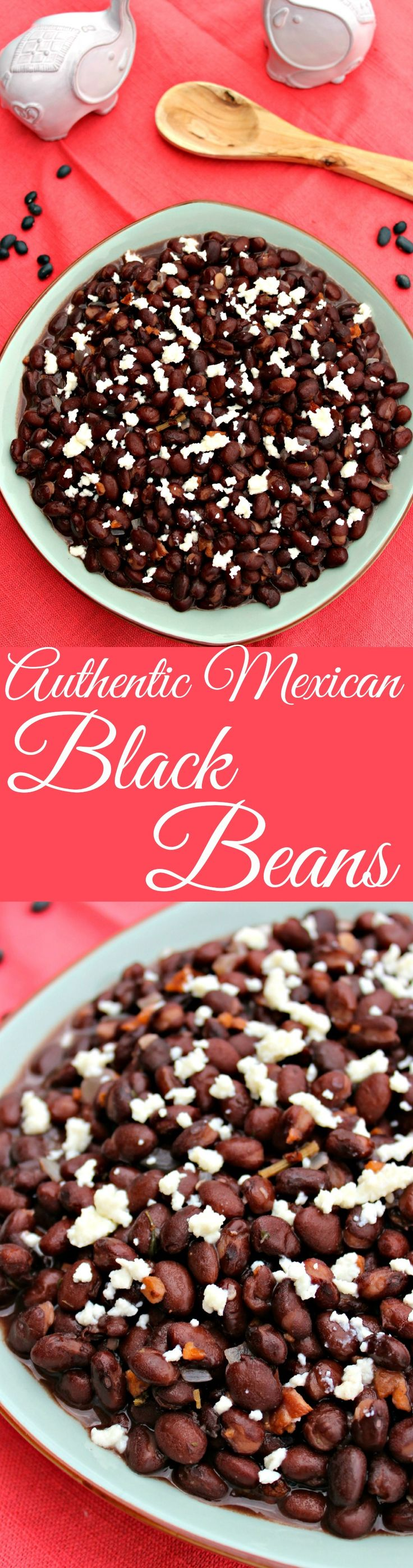 Authentic Mexican Black Beans ~ Restaurant-style black beans made with bacon, white onion, and epazote. ~ The Complete Savorist