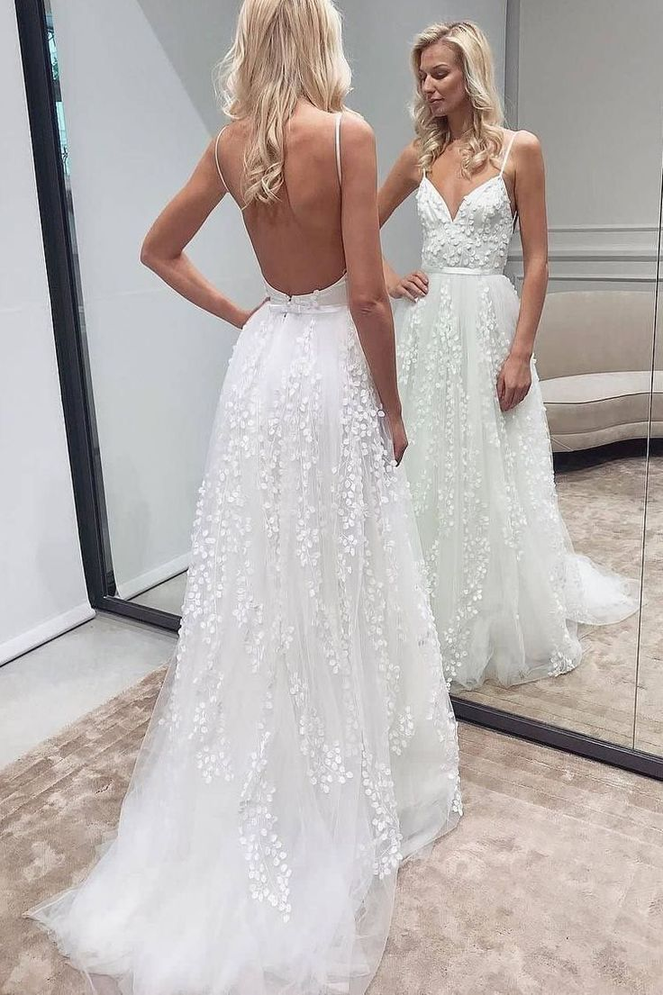daisystyledressA line Spaghetti Straps Open Again Boho Wedding ceremony…