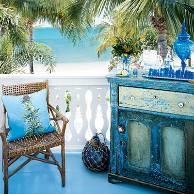 Varying Intensity  Don't stick to just one shade. Layer a variety of blues and greens on painted furniture to provide depth and visual interest. Distressing the surface with sandpaper or even judicious taps from a hammer allows multiple colors to shine through: Ideas, Beach House, Outdoor Living, Blue, Color, Dream, Coastal Living, Beachhouse
