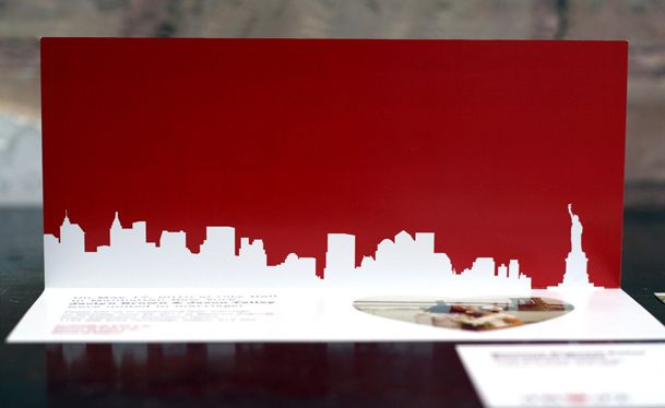 Die cut/ laser cut out Skyline wedding invitations - include the LDS temple spire!