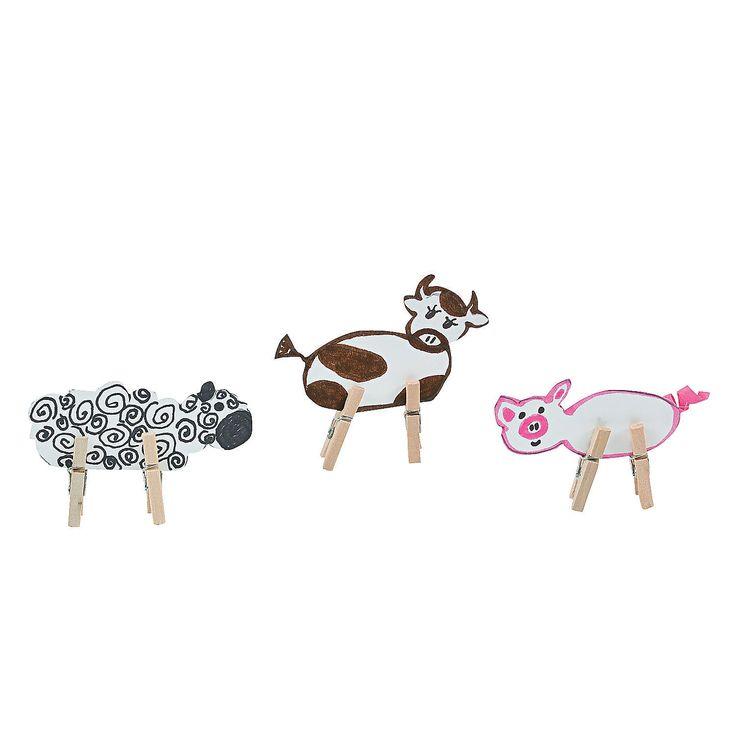 Clothespin Farm Animals Crafts For Children