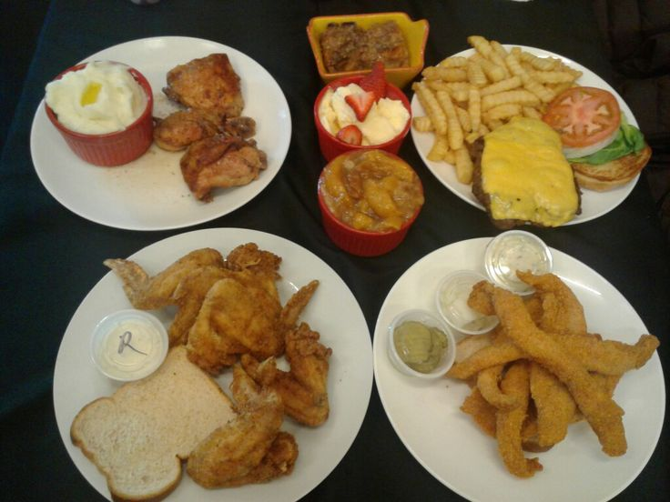 Gourmet Soul Restaurant and Catering, St. Louis, MO  Baked Chicken, Fried Chicken Wings , Housemade Cheeseburger, Swai Fish, Mashed Potatoes, Bread Pudding, Peach Cobbler  and Vanilla Ice Cream