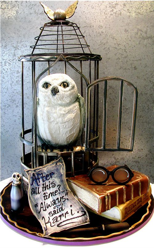 A Harry Potter cake featuring Hedwig's cage by Rosebud Cakes. Everything is edible including the glasses, wand and polyjuice potion.