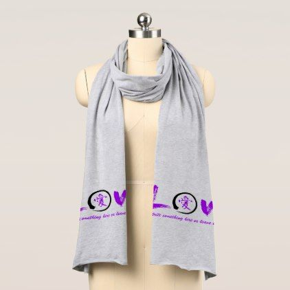 Black enso zen circle purple symbol for love scarf - diy cyo customize create your own personalize