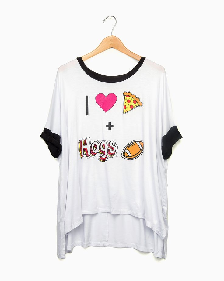 I Heart Hogs Football Black Sleeve Oversized Ringer
