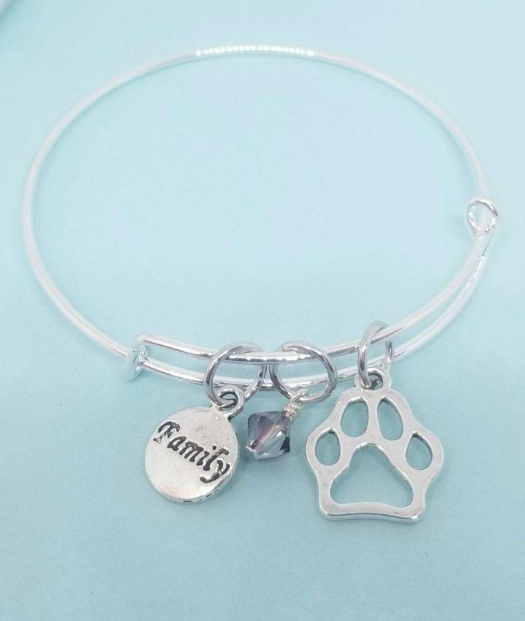 For all those Doggy Moms 💕 Doggie Love bangle with Swarovski element. #DogLove #fourleggedfamily #Pawprint http://etsy.me/2HnrxFQ