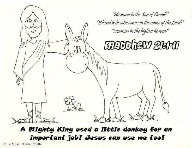 palm sunday bible lesson and craft coloring page