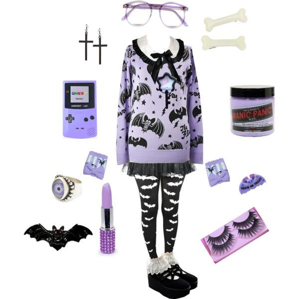 """Pastel Coordination, Pastel Goth (Lilac and Black)"" by chamalow-kawaii on Polyvore"