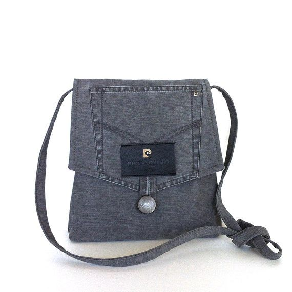 Gray recycled messenger bag Small purse Grey crossbody bag