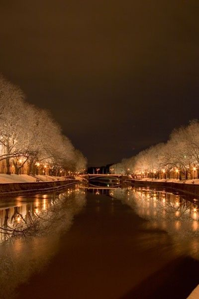 View of Aurajoki River at night - Turku, Finland