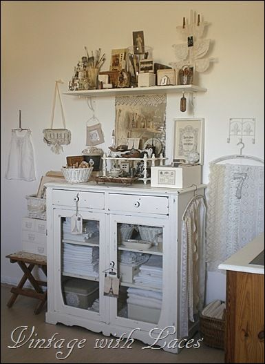 Another shabby chic studio space with lots of lace and vintage pieces...from Vintage With Laces
