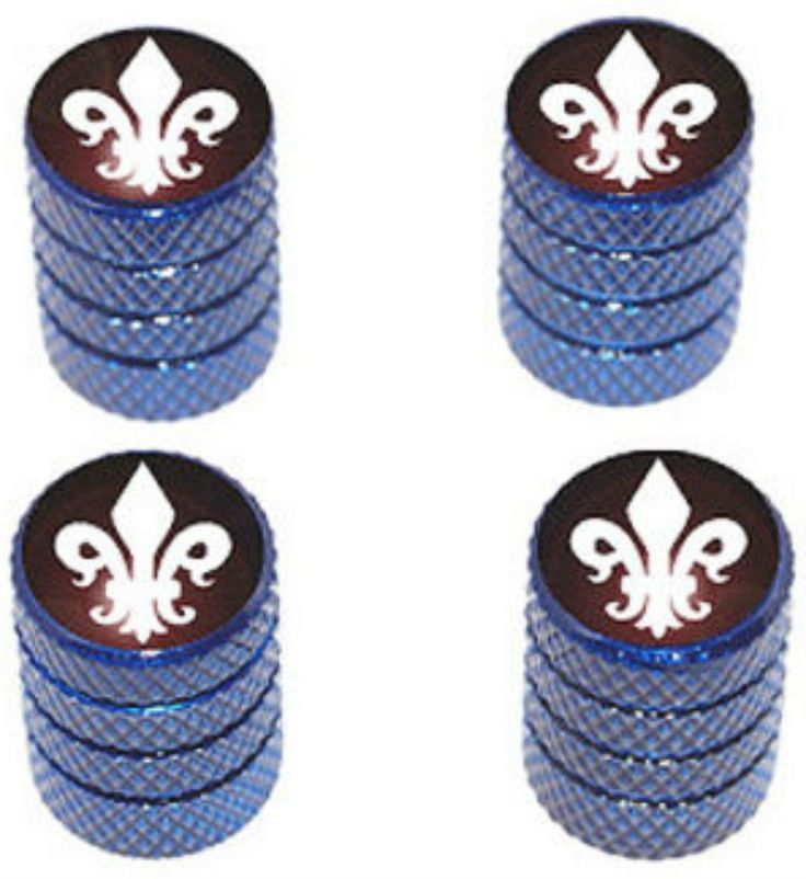 """Amazon.com : (4 Count) Cool and Custom """"Diamond Etching Fleur de Lis Top with Easy Grip Texture"""" Tire Wheel Rim Air Valve Stem Dust Cap Seal Made of Genuine Anodized Aluminum Metal {Persian Toyota Blue and White Colors - Hard Metal Internal Threads for Easy Application - Rust Proof - Fits For Most Cars, Trucks, SUV, RV, ATV, UTV, Motorcycle, Bicycles} : Sports & Outdoors"""