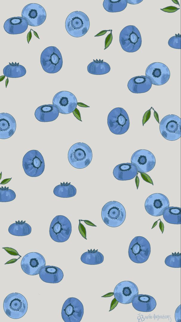 Cute Illustrated Blueberry Wallpaper Aesthetic Iphone Wallpaper Light Blue Aesthetic Wallpaper