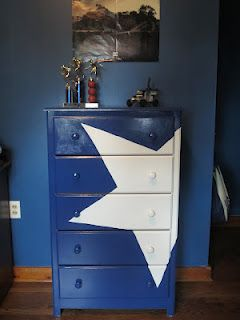 painted dresser, thinking I could stencils paint on a train or something like that.