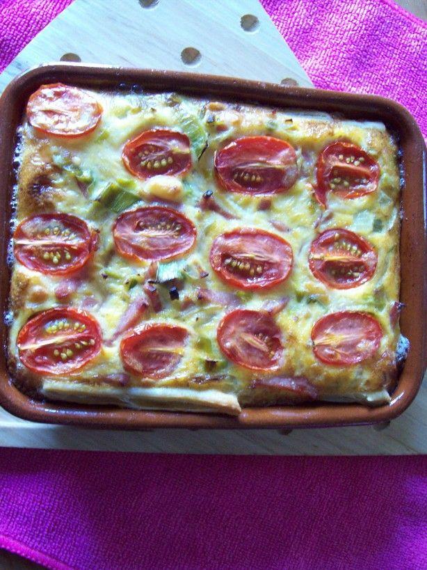 hartig taartje met ham, prei en tomaat