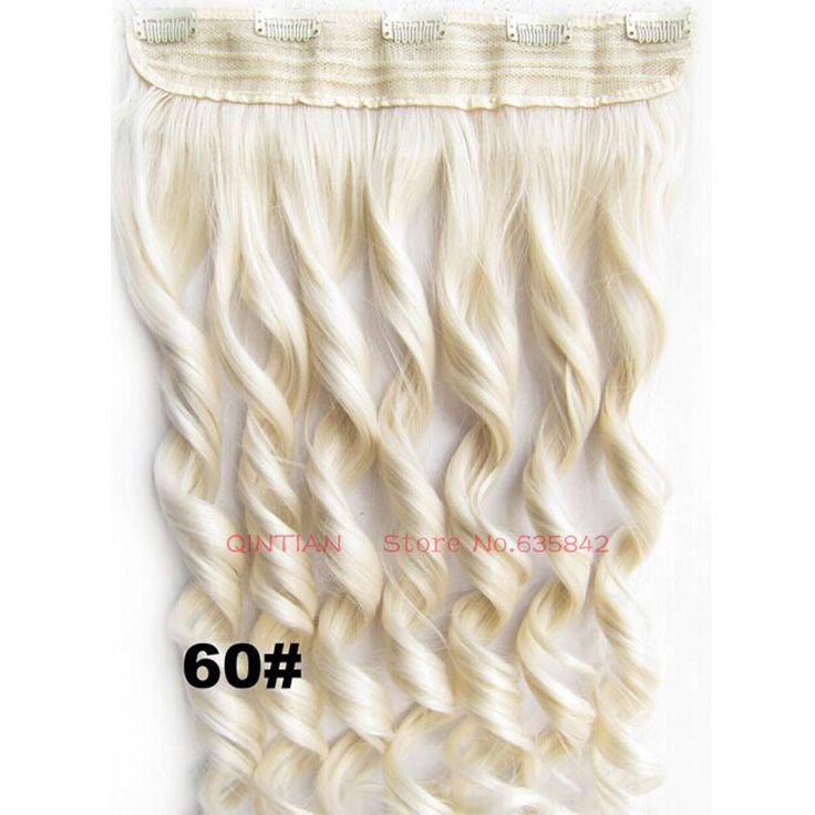 Синтетический зажим-в наращивание волос вьющиеся волнистые 24 дюйм(ов) 60 см 120 г # 60 White светлые цвета теплоизоляционный слой 5 зажим(ов) шиньон