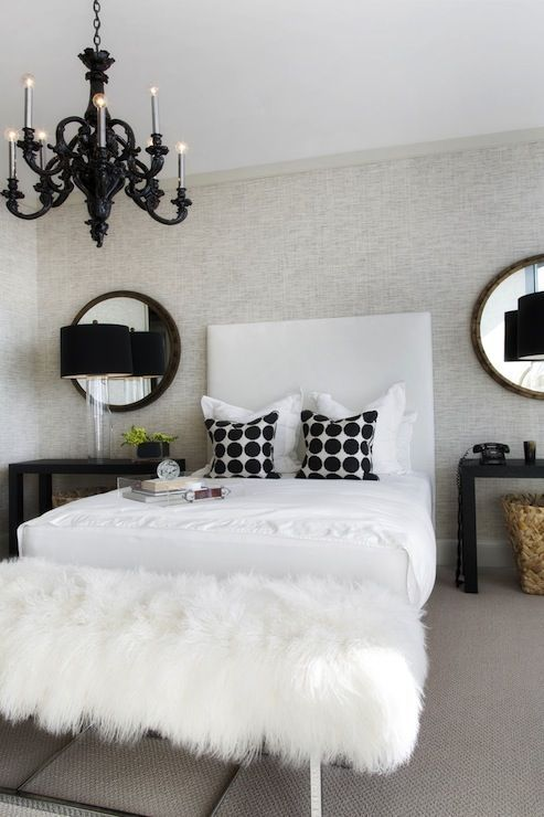Black White, Black Chandelier, Obsessed With The White Fur Bench! I Would  Do Diamond Tufted Headboard And Mirrored Nightstands.
