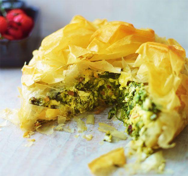 Greek spinach, feta & pine nut pie with dill & crunchy filo   News   Lorraine Pascale