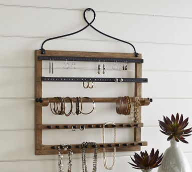 awesome wall-mount jewelry hanger from Pottery Barn - at $99, I'm thinking I might try to DIY something similar instead