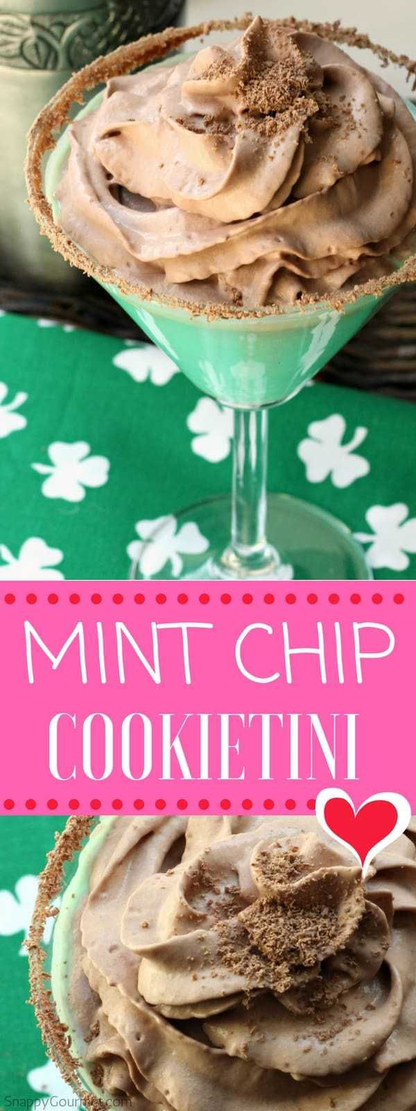 Mint Chip Cookietini Recipe - easy mint cocktail with creme de menthe and cookie dough vodka. Like a Thin Mint shot! #Cocktail #Mint #chocolate #SnappyGourmet #ThinMint #Vodka #CremeDeMenthe #CookieDough #vodka #shot #drink #martini #stpatricksday #green #cocktails