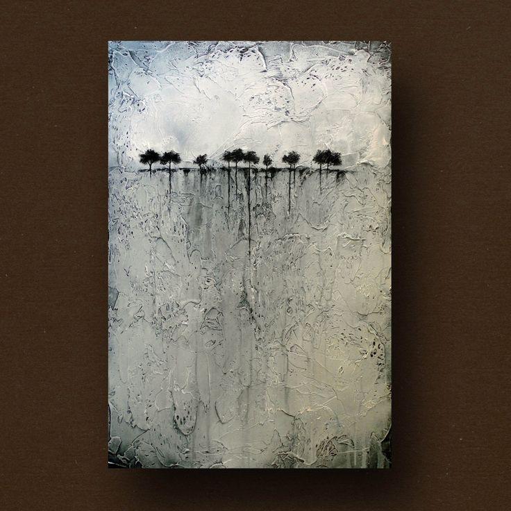 Abstrakt målning av träd vid horisonten. Mycket färg har gått åt till resten av målningen!