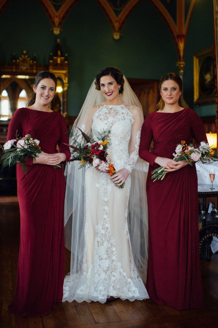 88 best wedding day cover ups images on pinterest creative a yolancris gown and bridesmaids in burgundy for a humanist winter wedding ombrellifo Gallery