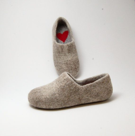 Handmade felted wool clogs