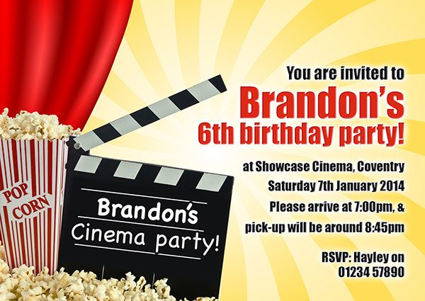 A personalised Cinema party invite perfect and unique to complement your childs birthday party theme. For a full range of different party theme invites visit www.justthecard.co.uk