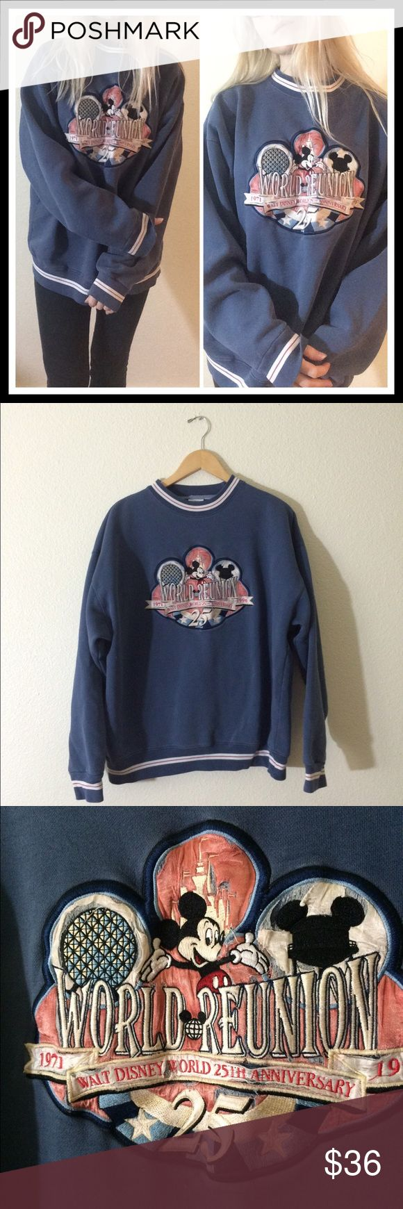 """🌟90's VTG Disneyland 25th Anniversary Pullover🌟 +Measurements+  Bust- 50""""  Length- 27"""" +Details+  Model is 5' 5"""" and is a size XS- No tagged size (please refer to measurements)- high quaintly thick fabric- embroidered print on front (distressed due to age)- blue/grey in color ✨NOT UNIF✨🐰NO TRADES🐰 #90s #grunge #idleskin #distressed #vintage #graphic #disney #mickey #mouse #cartoon #oversized #crewneck UNIF Tops Sweatshirts & Hoodies"""