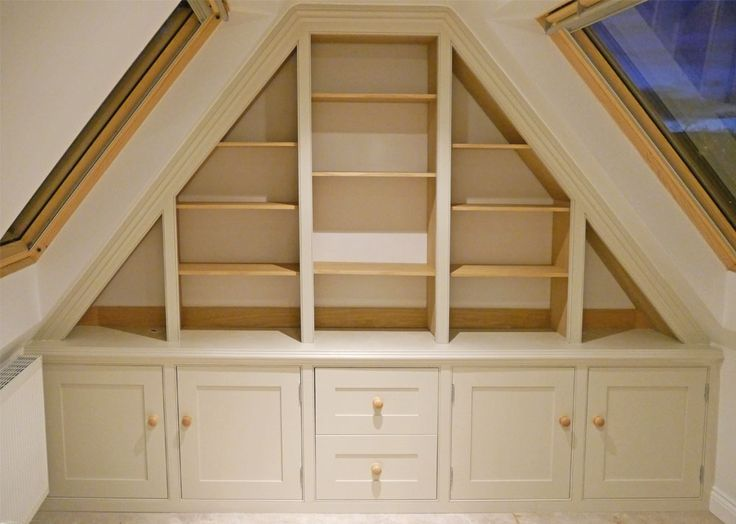Precise measurement, design and construction was required for this home office storage created in an attic under the eaves lofty area!  www.dunhamfittedfurniture.co.uk