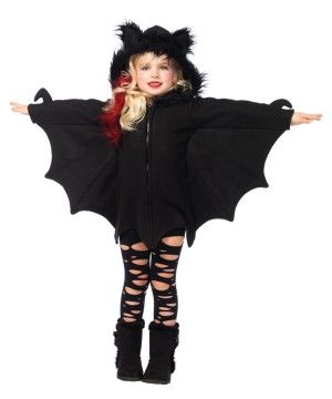 Bat Cozy Girls Costume - <p>Who said night critters could not be cute -- or comfy for that matter?! This <b>Bat Cozy Girls Costume</b> sure makes for one adorable Vampire Bat Costume! As traditional Halloween symbols, Vampire Bats are often characterized as scary and gut-wrenching.