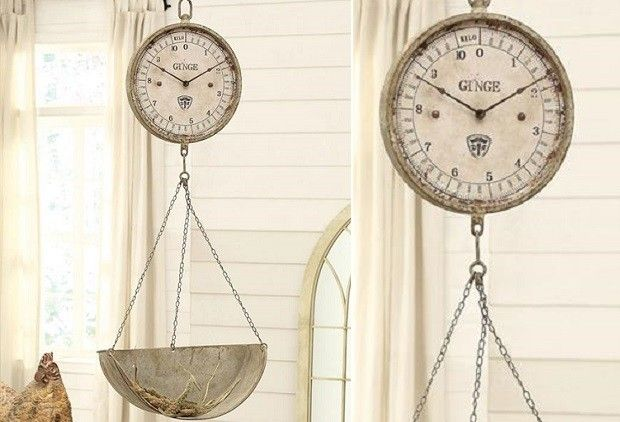 Hanging Scale Clock | Vintage Style Clock | Grocery Scale Clock
