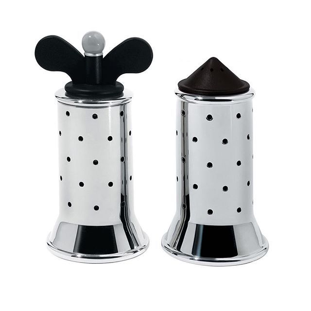 The #9098 #peppermill and #MGSAL #SaltCastor were part of #MichaelGraves collection of #household products for #Alessi.  Graves' Kettle from the same range is Alessi's all time best seller and his #salt and #pepper set are also iconic of their era.  Graves was best known as a #postmodern #American #architect and his fun, playful style is reflected in his #homewares.  His line remains ever popular whilst many post-modern works have fallen in popularity in favour of a return to a more #modern…