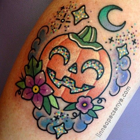 cute halloween tattoo pumpkin tattoo jackolantern tattoo linnea tattoos