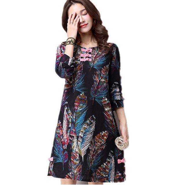 2017 New women autumn spring dress fashion feather print plus size soft cotton linen vintage style loose midi women dress