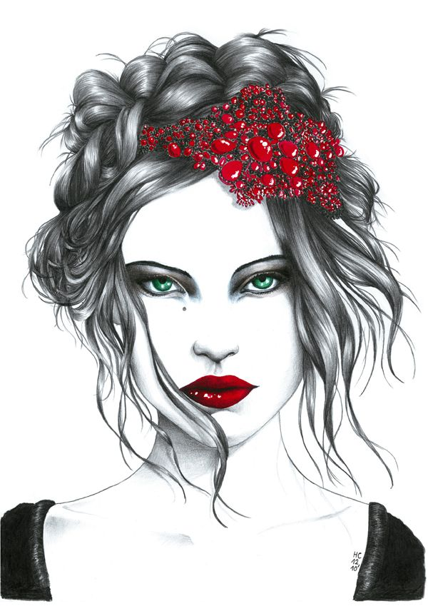 Bonne année watercolor, pencil and ink illustration by Paris-based artist Hélène Cayre