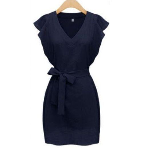 Navy V Neck Ruffle Sleeve Self-Tie Dress